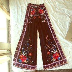 Hobo Floral and Black Wide Leg Pants